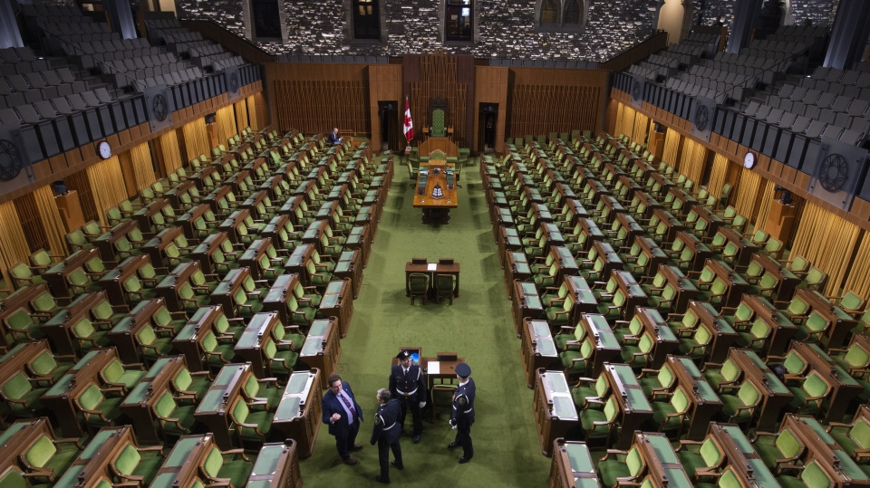 Liberal MP David Graham speaks with Parliamentary Guards in the House of Commons before the start of the first session in West Block Monday January 28, 2019 in Ottawa. THE CANADIAN PRESS/Adrian Wyld