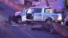 pickup truck highway 1 crash in burnaby