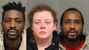 In this composite image, suspects Charlton Sealy (left) Deanna Passera (centre) and Shabaka Reid (right) are seen. All three have been charged in connection with a  human trafficking investigation involving a 17-year-old girl. (Source: Toronto Police)