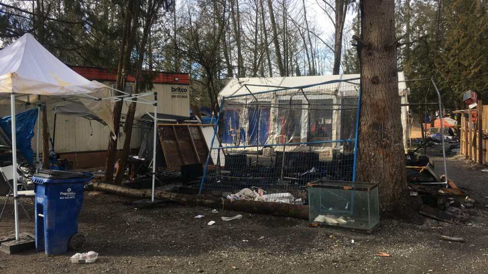The Anita Place homeless camp is seen after a fire that broke out in February 2019.