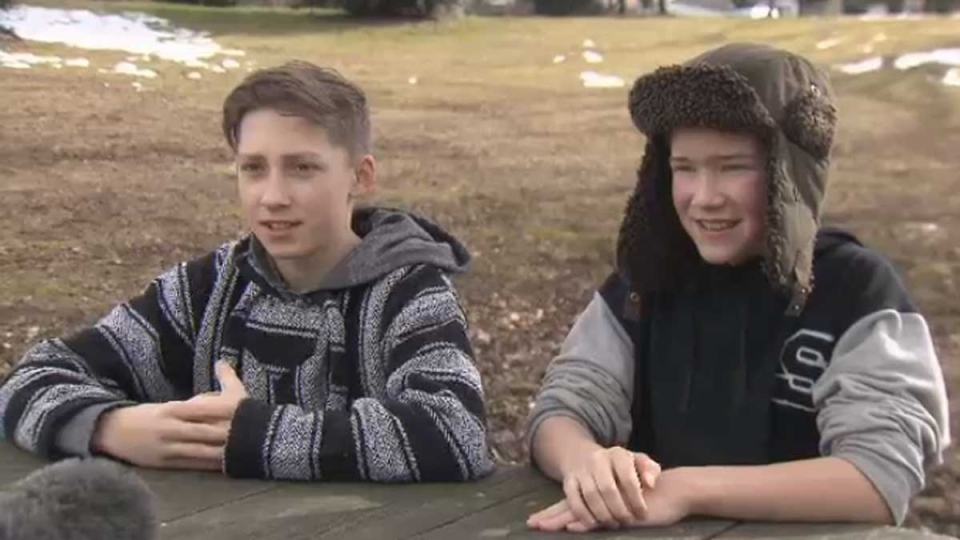 Ethan Harvey and Gabriel Neilson speak to CTV News after aiding in the rescue of a child at Grouse Mountain.