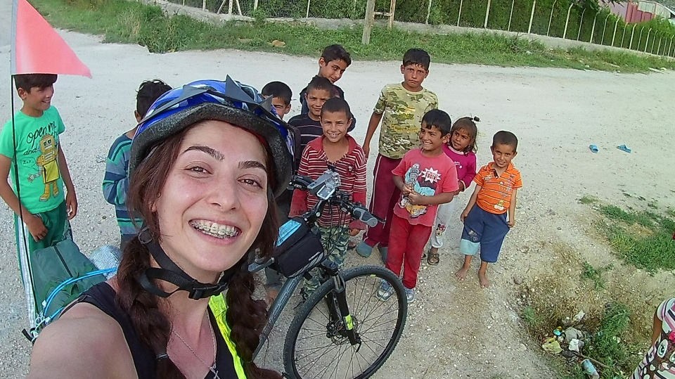 Mahshid Hadi is seen with her bike in Turkey. (Provided)