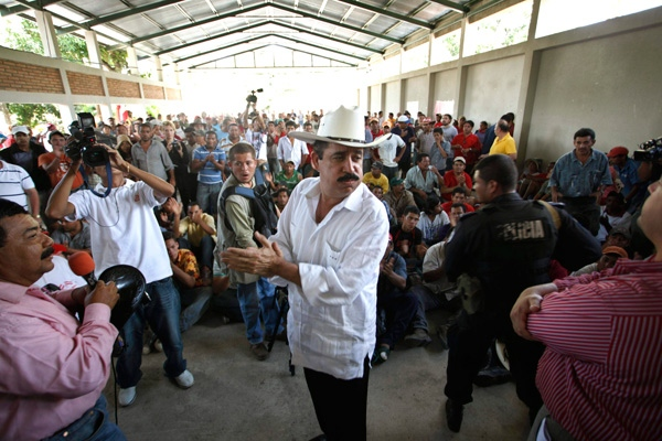 Ousted Honduran President Manuel Zelaya speaks to supporters at a shelter in Ocotal, Nicaragua, near the border with Honduras, Monday, July 27, 2009. (AP / Esteban Felix)
