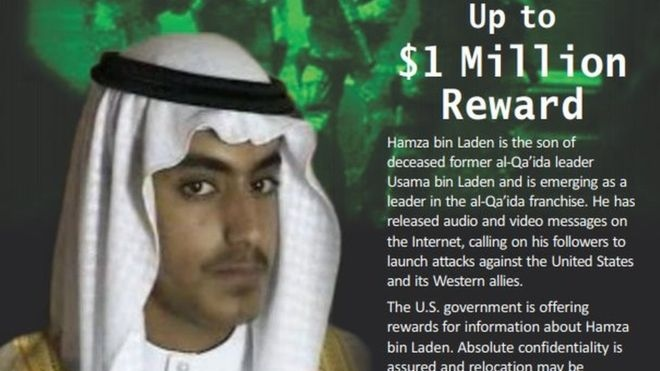 The U.S. government is offering US$1 million for help tracking down the son of the late terrorist leader Osama bin Laden. (Rewards for Justice)
