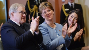 Newly appointed Veterans Affairs Minister Lawrence MacAulay, left to right, Minister of Agriculture and Argi-Food Marie-Claude Bibeau and Minister for Women and Gender Equality and newly appointed Minister of International Development Maryam Monsef attend a swearing in ceremony at Rideau Hall in Ottawa on Friday, March 1, 2019. THE CANADIAN PRESS/Sean Kilpatrick