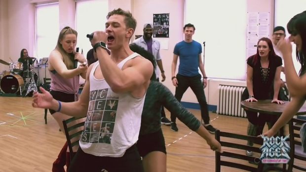 Behind the Scenes at rehearsal for the Rock of Ages 10th Anniversary Tour.