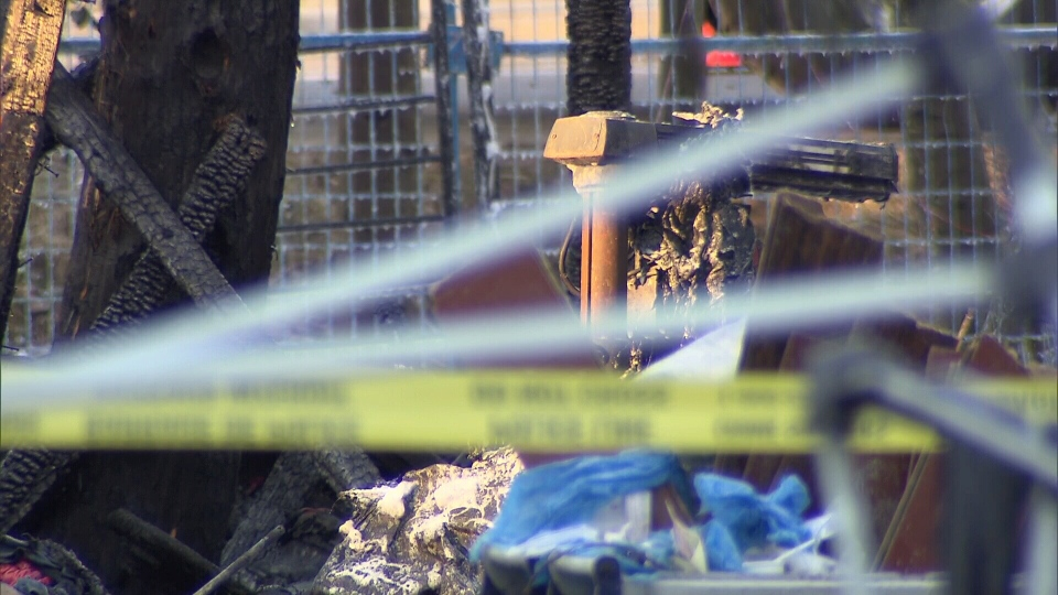 Charred belongings are seen at Anita Place in Maple Ridge on Friday, March 1, 2019.