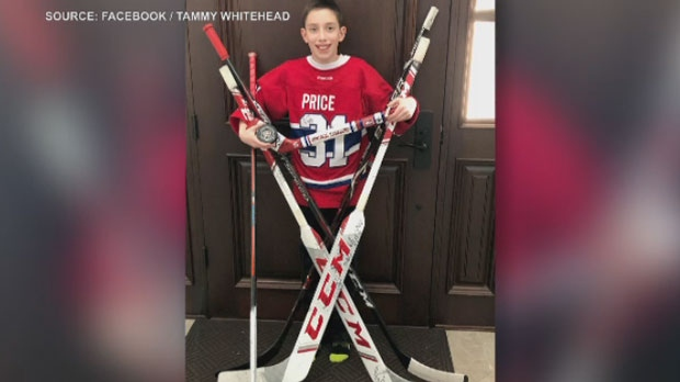 Anderson Whitehead, 11, is seen with his signed Carey Price memorabilia. (Facebook/Tammy Whitehead)