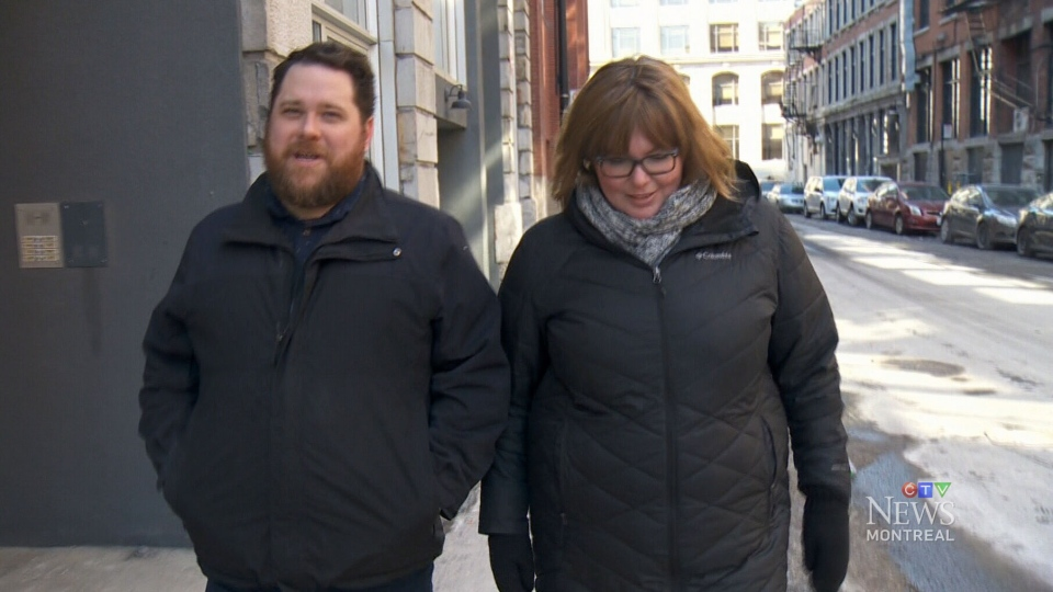 Myles Carter (left) and Kristine Bernard (right) were driving in downtown Montreal on Feb. 22, 2019, when a hunk of ice crashed through their sunroof.