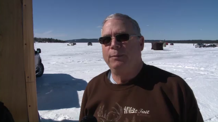 """We've been very fortunate with lots of ice this year, and not a lot of snow, so we're able to travel on the ice,"" said ice fisherman Steve White."