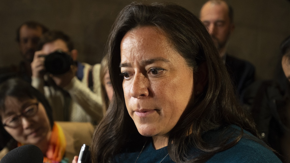 Jody Wilson-Raybould speaks with the media after appearing infront of the Justice committee in Ottawa, Wednesday, Feb. 27, 2019. THE CANADIAN PRESS/Adrian Wyld