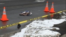 Fatal pedestrian collision in Aylmer Ont. on March 2, 2019. (Brent Lale/CTV)