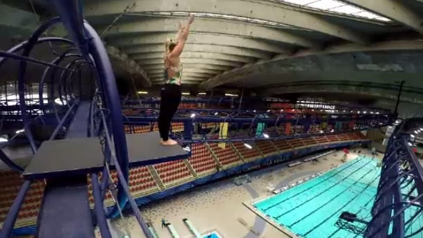Professional cliff diver Lysanne Richard had a special 17-metre high platform installed at the Olympic Stadium for her training.