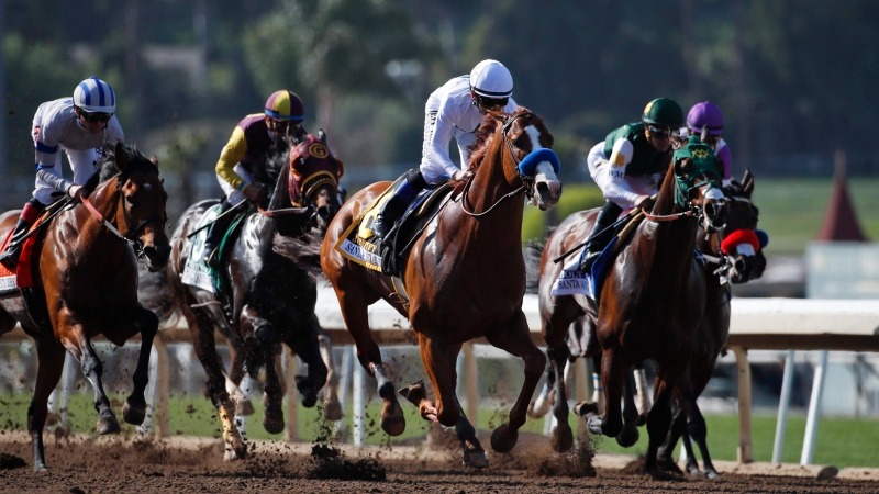 The Santa Anita Derby horse race at Santa Anita on Saturday, April 7, 2018, in Arcadia, Calif. Justify won the race. (AP Photo/Jae C. Hong)