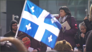 Dozens marched in solidarity against racism and xenophobia Sunday - saying the comments made by Quebec Solidaire MNA Emilie Lessard-Therrien set a new standard of institutional racism in the province. (CTV Montreal)