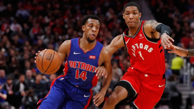 786dbe201f91 Detroit Pistons guard Ish Smith (14) drives against Toronto Raptors guard  Patrick McCaw (1) during the first half of an NBA basketball game