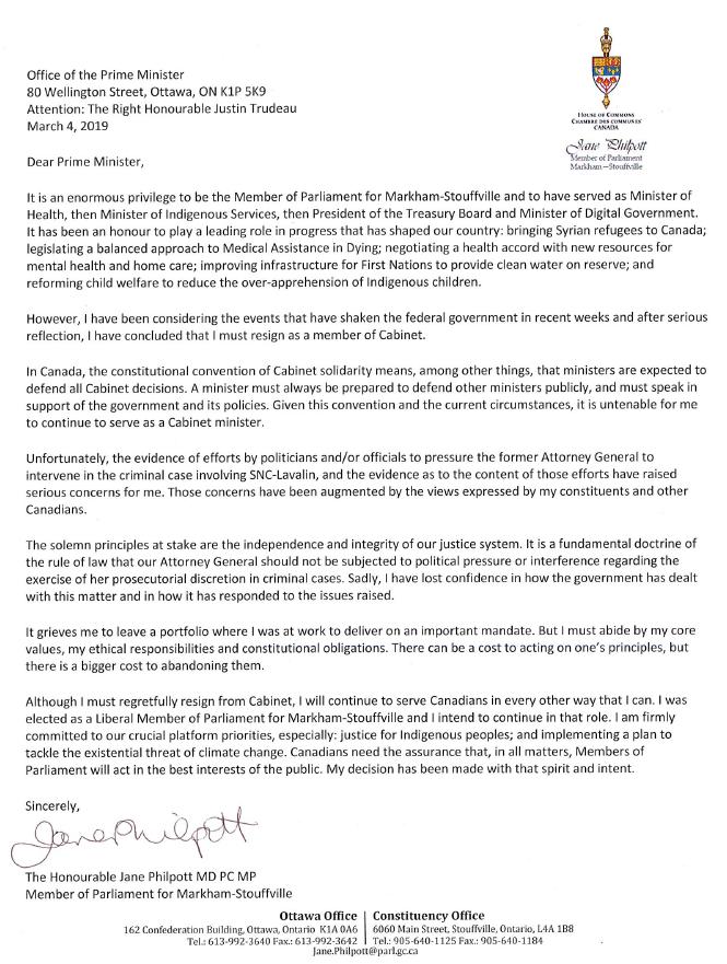 Minister Jane Philpott resignation letter