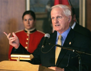 Defence Minister Grodon O'Connor announces the re-opening of the College Militaire Royale St. Jean in Saint-Jean-sur-Richelieu, Que., on July 19, 2007. (CP / Ian Barrett)