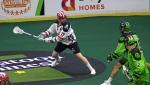 Calgary Roughneck Curtis Dickson tries to shoot between Saskatchewan Rush defenders Nic Bilic and Brett Mydske. (Shawn Slaght/CTV Regina)