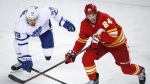 Toronto Maple Leafs' Frederik Gauthier, left, and Calgary Flames' Travis Hamonic chase the puck during third period NHL hockey action in Calgary, Monday, March 4, 2019. THE CANADIAN PRESS/Jeff McIntosh