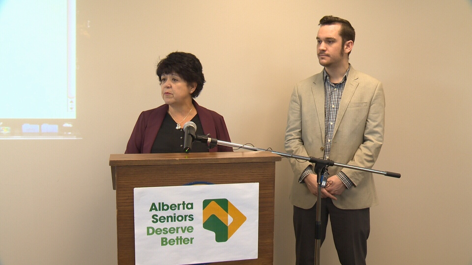 Sandra Azocar, executive director of Friends of Medicare, and Joel French, executive director of Public Interest Alberta, launched a campaign Tuesday for better health care for Alberta seniors.