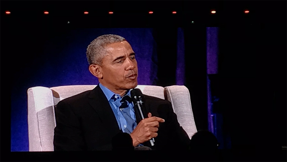 Former United States President Barack Obama speaks at the Scotiabank Saddledome on March 5, 2019.