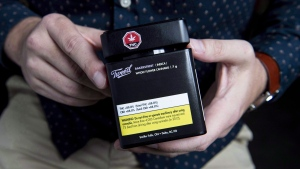 Packaging for a recreational cannabis product is shown at Canopy Growth Corporation's Tweed headquarters in Smiths Falls, Ont., on Friday, Oct. 12, 2018. (THE CANADIAN PRESS/Justin Tang)