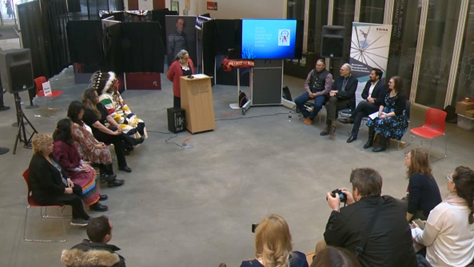 A traveling exhibit featuring the stories of survivors of the Sixties Scoop is on at the Calgary Central Library on Wednesday.