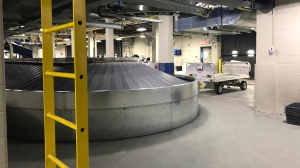 The baggage sorting area of the Regina airport is seen in this file image.