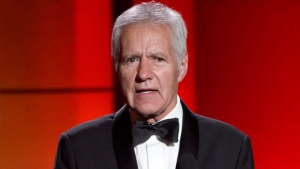 In this April 30, 2017, file photo, Alex Trebek speaks at the 44th annual Daytime Emmy Awards at the Pasadena Civic Center in Pasadena, Calif. Trebek has been diagnosed with stage 4 pancreatic cancer. THE CANADIAN PRESS/AP/Photo by Chris Pizzello/Invision/AP, File