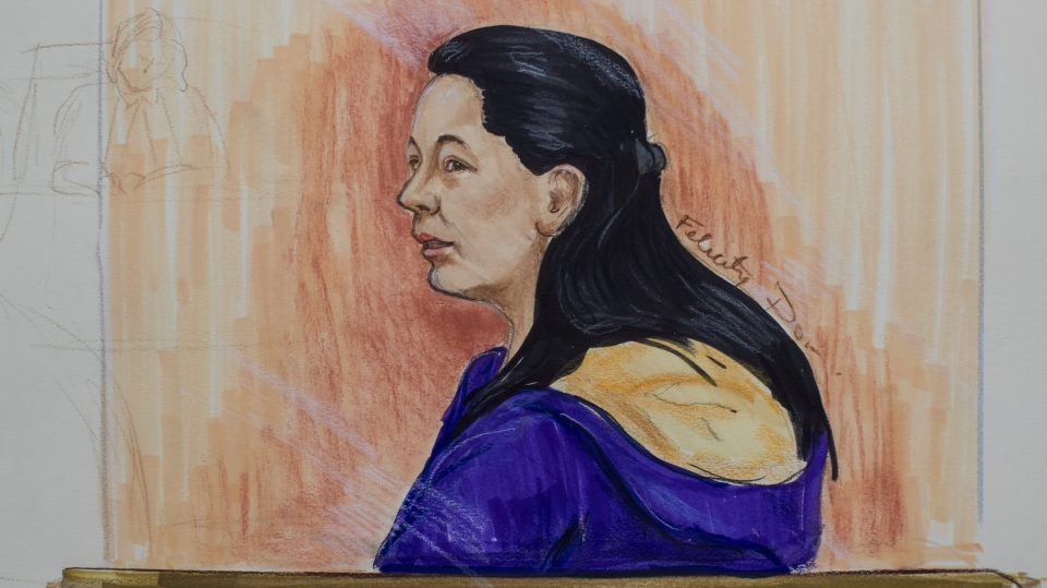 In this courtroom sketch, Meng Wanzhou, the chief financial officer of Huawei Technologies, listens during an appearance at B.C. Supreme Court, in Vancouver, on Wednesday, March 6, 2019. (THE CANADIAN PRESS/Felicity Don)