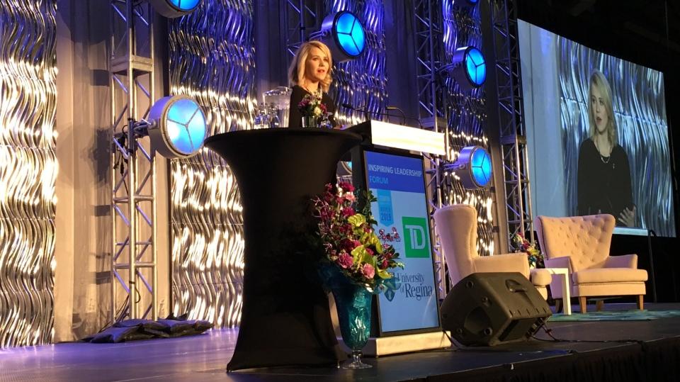 Kidnapping survivor Elizabeth Smart speaks at the University of Regina Inspiring Leadership Forum. (Taylor Rattray/CTV Regina)