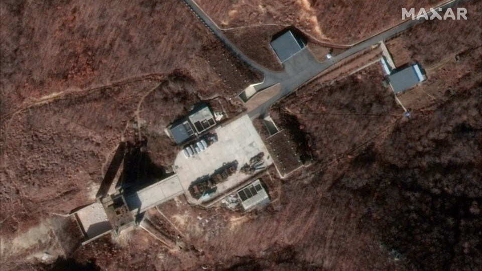 This Dec. 5, 2018 image provided by DigitalGlobe on Tuesday, March 5, 2019 shows a satellite image of North Korea's Sohae facility. (DigitalGlobe via AP)