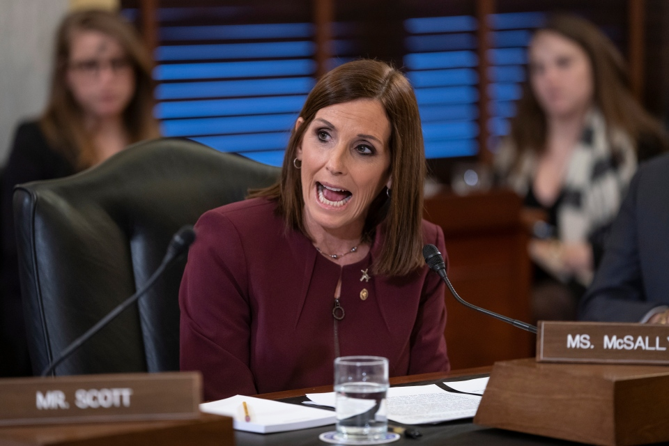During a hearing by the Senate Armed Services Subcommittee on Personnel about prevention and response to sexual assault in the military, Sen. Martha McSally, R-Ariz., recounts her own experience while serving as a colonel in the Air Force, on Capitol Hill in Washington, Wednesday, March 6, 2019. (AP Photo/J. Scott Applewhite)