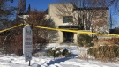 This Jan. 6, 2018 photo shows police crime scene tape marking off the property belonging to Barry and Honey Sherman, who were found strangled inside their home on Dec. 15, 2017. (AP Photo/Rob Gillies)