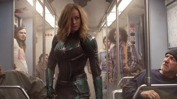 Brie Larson in a scene from 'Captain Marvel.' (Disney-Marvel Studios via AP)
