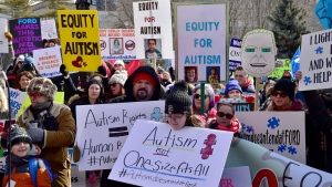 Hundreds of parents, therapists and union members gather outside Queen's Park, in Toronto on Thursday, March 7, 2019, to protest the provincial government's changes to Ontario's autism program. THE CANADIAN PRESS/Frank Gunn