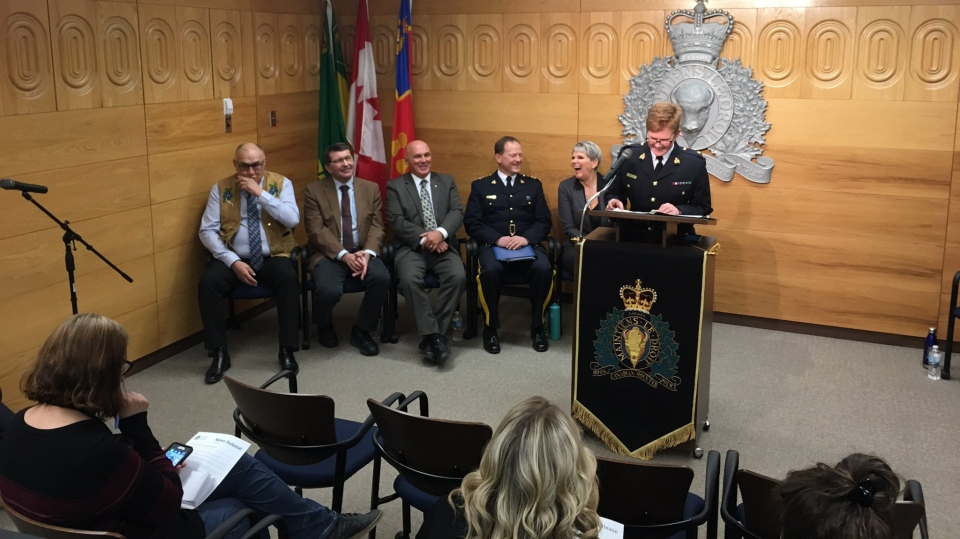 The RCMP announce a new crime watch advisory system for southern Saskatchewan. (Cole Davenport/CTV Regina)