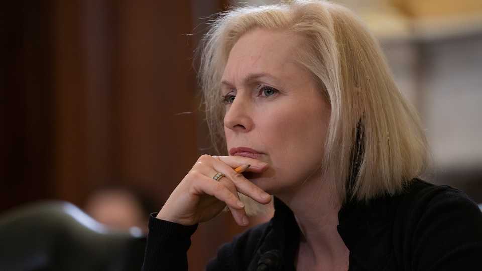 Sen. Kirsten Gillibrand, D-N.Y., the ranking member of the Senate Armed Services Subcommittee on Personnel, listens as the panel holds a hearing about prevention and response to sexual assault in the military, on Capitol Hill in Washington, Wednesday, March 6, 2019. (AP / J. Scott Applewhite)
