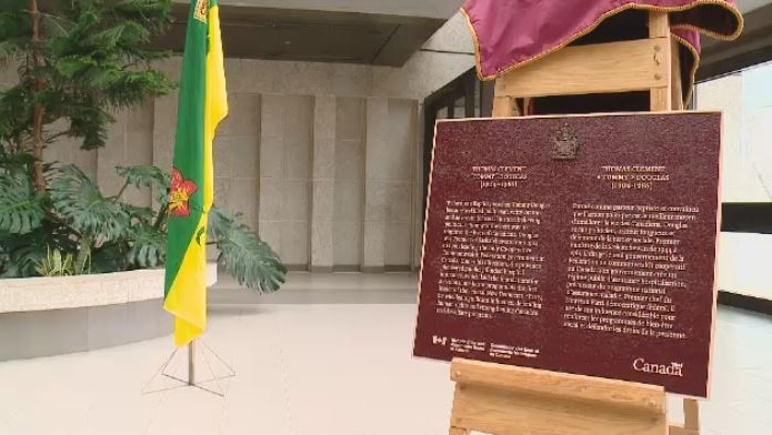 A plaque was unveiled in Regina to honour former Saskatchewan Premier Tommy Douglas.
