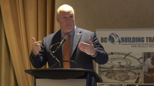 Premier John Horgan addresses B.C. Building Trades meeting on March 7, 2019. (CTV Vancouver Island)
