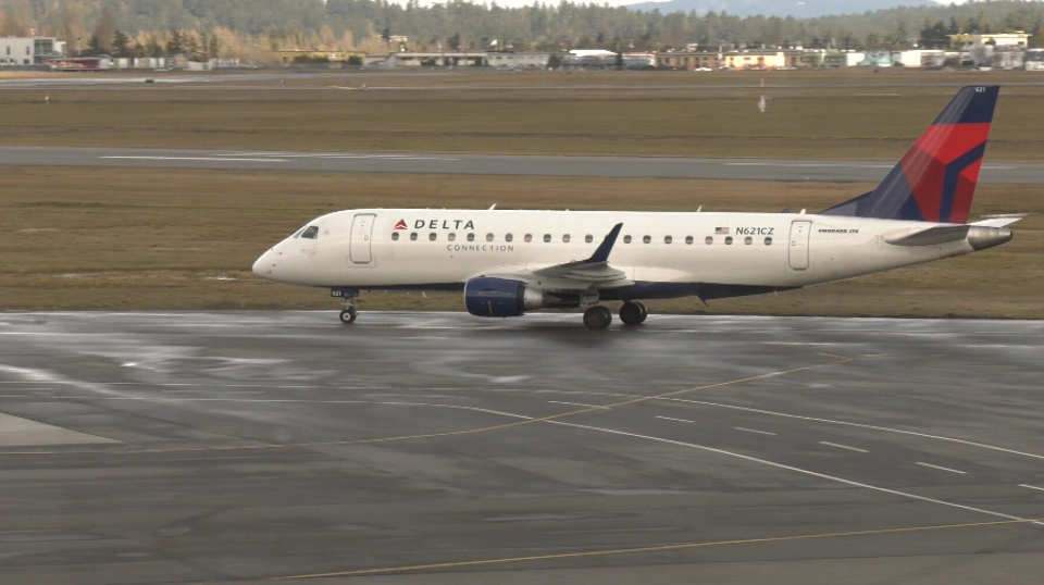 A Delta flight arrives at Victoria airport on March 7, 2019. (CTV Vancouver Island)