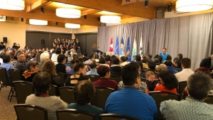 Survivors and their families attend the apology in Iqaluit, Friday, March 8, 2019. (Annie Bergeron-Oliver / CTV News)