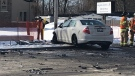 Debris litters the scene of a pedestrian crash in Lambeth, Ont. on Friday, March 8, 2019. (Justin Zadorsky / CTV London)