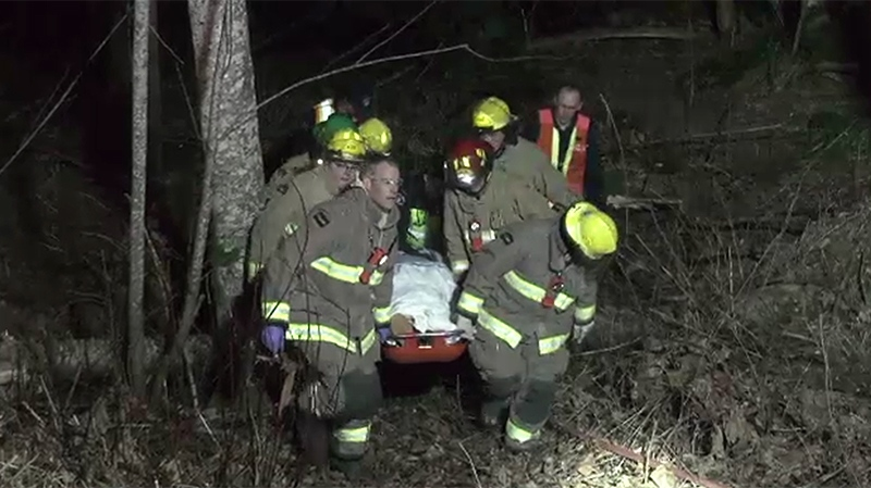 Oyster River firefighters pulled a driver to safety after his vehicle fell down a nine-metre embankment Thursday, March 7, 2019. (CTV Vancouver Island)