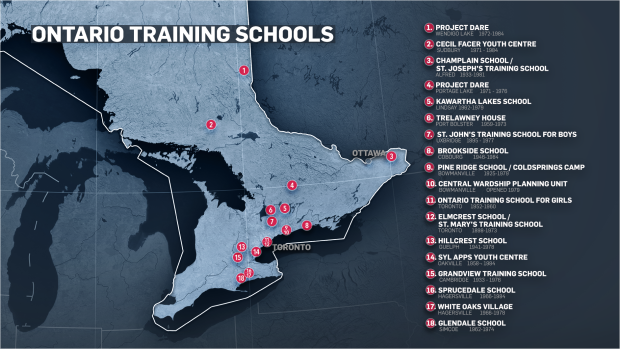 Ontario Training Schools Map W5