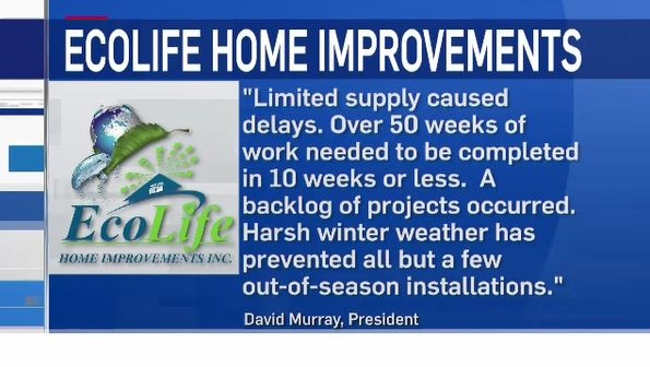 Statement from Eco Life Home Improvements