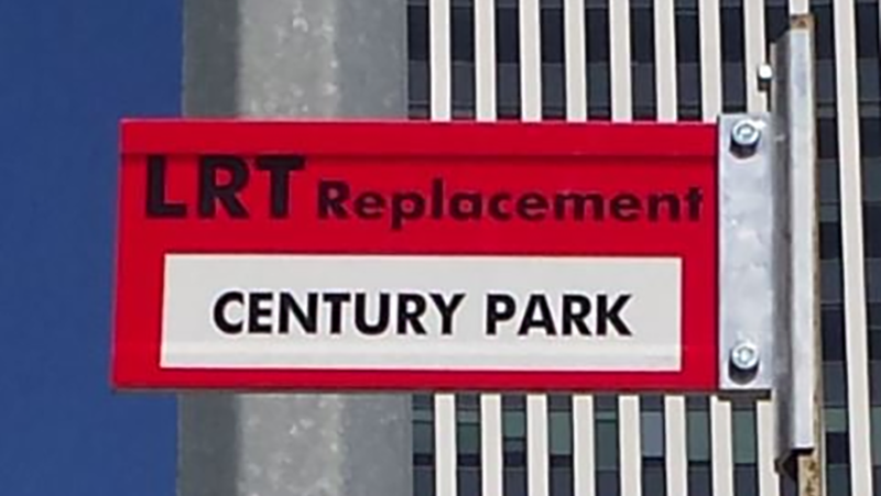 LRT bus replacement sign