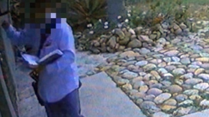 A man from San Diego, Calif. says he caught a mail carrier repeatedly pepper spraying his dog on surveillance footage. (KGTV)