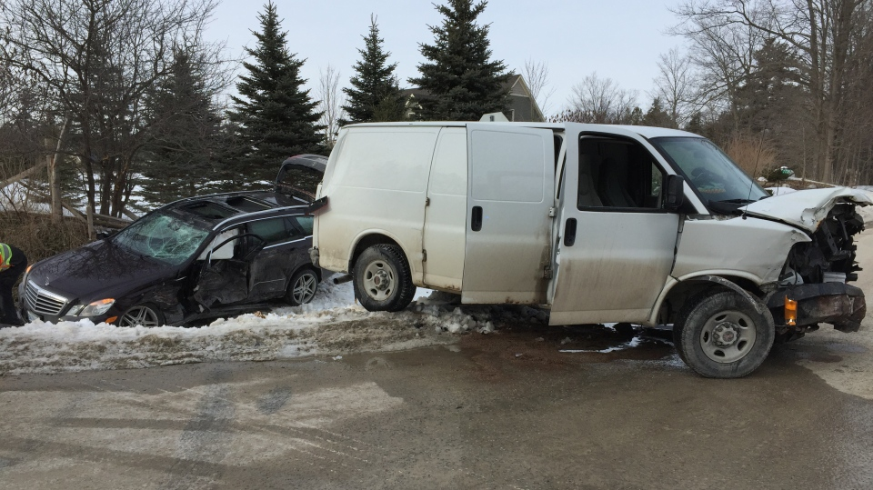 A two vehicle crash outside Guelph sent three people to hospital.